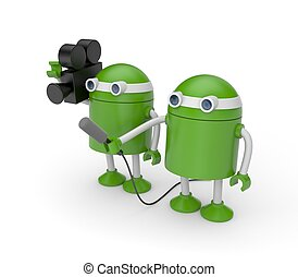Operator and correspondent - Green robots, one holding a...
