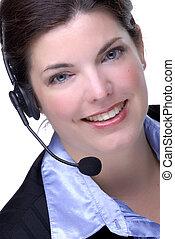 Operator - Attractive Brunette Customer Service...