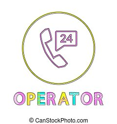 Operator bright round linear icon with receiver and 24 hours sign. Online mobile support button outline template isolated cartoon vector illustration.