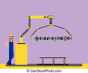 operator factory automotive robotic arm connecting rod...