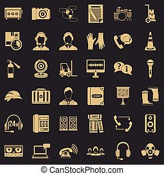 Operator icons set, simple style
