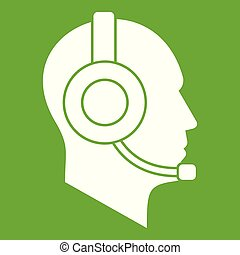 Operator in headset icon green