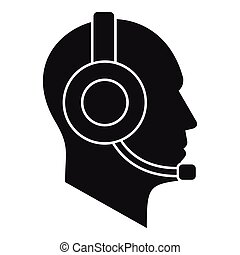 Operator in headset icon, simple style