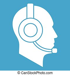 Operator in headset icon white