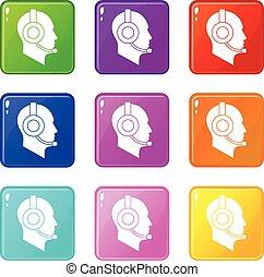 Operator in headset set 9