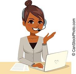 operator, laptop, kobieta, pracujący