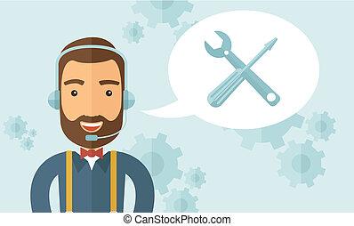 Operator man in headset. - An operator man with headset...