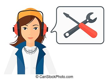 Operator of technical support. - An operator of technical...