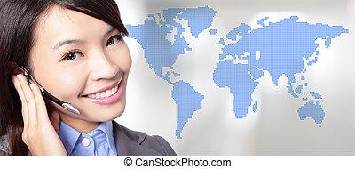 operator, portret, kobieta handlowa
