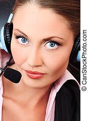 operator - Beautiful customer service operator woman with...
