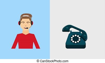 customer service animation hd - operator with headphones and...