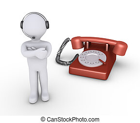 Operator with headset and telephone - Person with a headset...