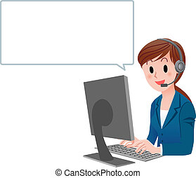 Vector illustration of Customer service woman in suit at computer with speech balloon. isolated on white.