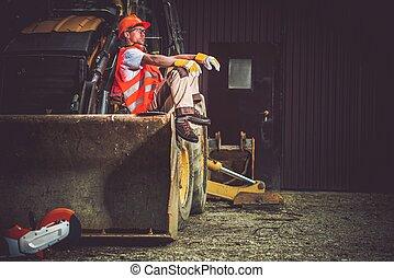 operatore, bulldozer, scavatore