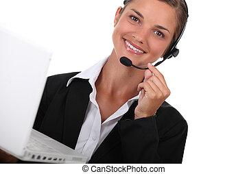 operatore, computer, hotline