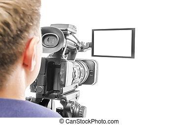 operatore, macchina fotografica, video