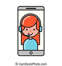 operatore, ragazza, smartphone, fare spese linea