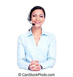 operatore, woman., centro chiamata, affari