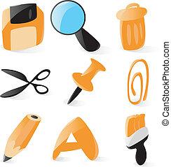 operazioni, liscio, file, icone