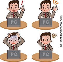 opereren, computer, man