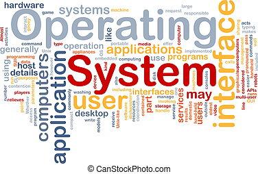 operowanie, słowo, system, chmura