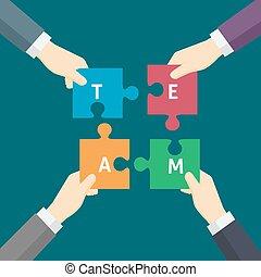 opgave, arbejde, illustration, hånd, afdelingen, holde, hold, forretningsmand