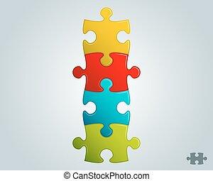 opgave, farverig, vertikal, struktur, stykker