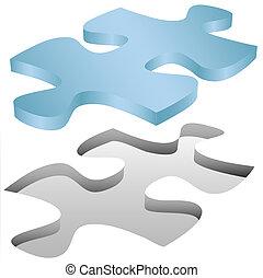 opgave, jigsaw, monterer, hul, stykke, hvid