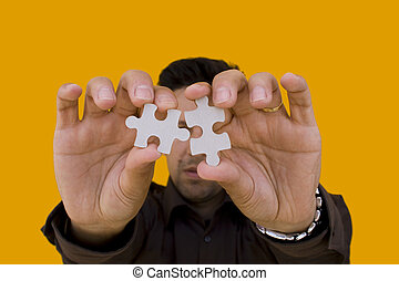 opgave, mand, (focus, på, den, puzzle)