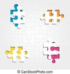 opgave, vektor, baggrund, pieces., illustration
