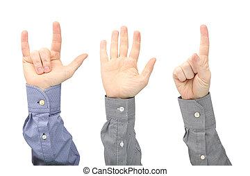 opgeheven handen, van, anders, mannen, op wit, achtergrond