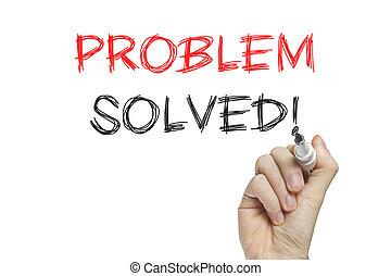 opgeloste, probleem, hand het schrijven