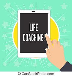 opgepoetste, helpen, wijzende, coaching., bereik, vrouwlijk, tablet, spijkers, schrijvende , aantekening, hun, vinger, foto, tewerkgesteld, witte , het tonen, leven, zakelijk, scherm, hand, doelen, demonstreren, ervandoor., carrière, showcasing