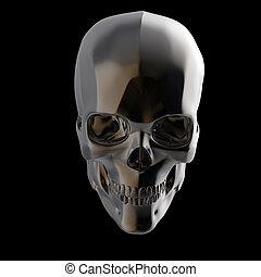 opgepoetste, schedel, render, metaal, vrijstaand, donker, s, zwarte achtergrond, glanzend