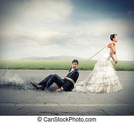 opgesloten, door, huwelijk