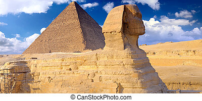 opgespoorde, piramide, panorama, sphinx., giza