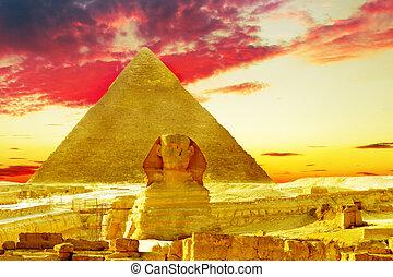 opgespoorde, piramide, pharaoh, groot, egypt., sphinx., ...
