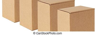 opgespoorde, vrijstaand, zelfde, achtergrond., dozen, diagonally., witte , karton, roeien