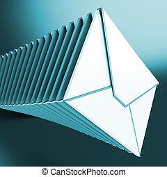 opgestapelde, enveloppen, optredens, inbox, berichten, op,...