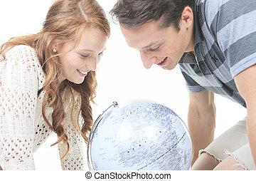 opgewekte, globe, op, jonge, hun, planning, vasthouden,...