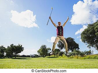 opgewekte, golfspeler, springt, op, het houden club