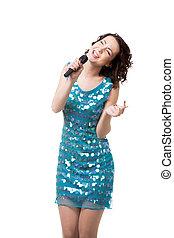 opgewekte, jonge vrouw , het zingen, in, kort, het fonkelen, blauwe kleding