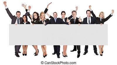 opgewekte, zakenlui, het voorstellen, lege, spandoek