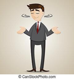 ophalen, zakenman, spotprent, schouder