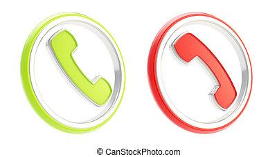 ophangen, telefoon, emblems, roepen, antwoord, ronde, pictogram