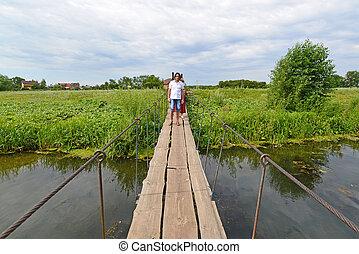 ophanging, mensen, op, wandeling, rivier, brug