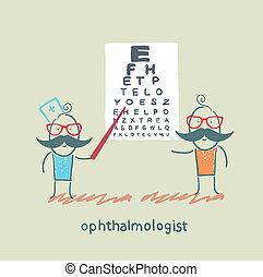 ophtalmologiste, chèques, vue, de, les, patient, à, les, essai