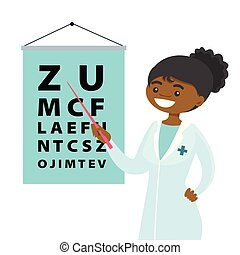 ophtalmologiste, chart., oeil, african-american