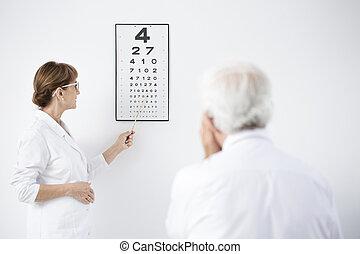 ophtalmologiste, patient, pendant, examen