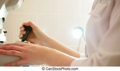 ophtalmologiste, yeux, patient, fonctionnement, moderne, -, élevé, clinique, informatique, santé, technologie, soin